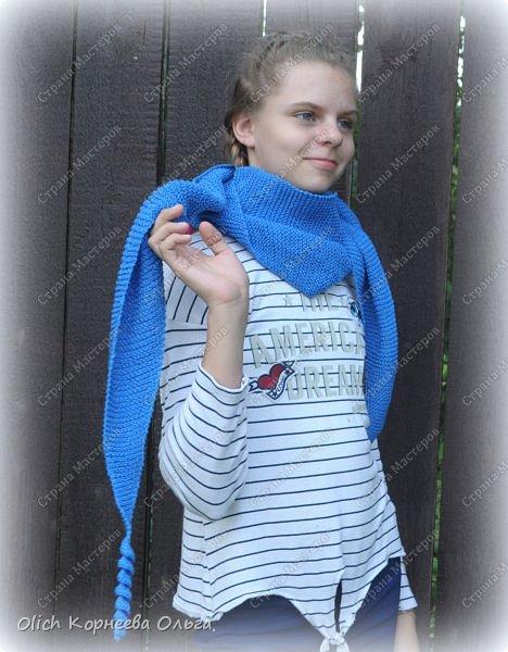 К осени связала несколько удобных и теплых шарфов-бактусов. фото 1
