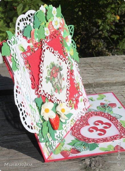 Всем здравствуйте! Я снова со свадебной темой. Хотя по виду эту открытку свадебной трудно назвать, но она сделана к 33-летней годовщине свадьбы, и называется она Клубничная. Вообще у этой годовщины есть еще второе название Каменная. Но мне больше понравилось название Клубничная. Я когда прочитала это название и сразу захотела сделать открытку. Хотела много кружева и фатина. Но от кружева я еще в замыслах отказалась, а про фатин почему то забыла. Фатин придал бы воздушность слоям и опять же ассоциация с фатой. Это фото на солнышке в саду. фото 3