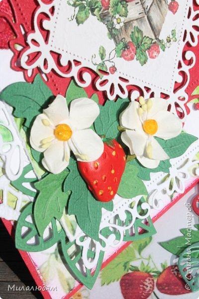 Всем здравствуйте! Я снова со свадебной темой. Хотя по виду эту открытку свадебной трудно назвать, но она сделана к 33-летней годовщине свадьбы, и называется она Клубничная. Вообще у этой годовщины есть еще второе название Каменная. Но мне больше понравилось название Клубничная. Я когда прочитала это название и сразу захотела сделать открытку. Хотела много кружева и фатина. Но от кружева я еще в замыслах отказалась, а про фатин почему то забыла. Фатин придал бы воздушность слоям и опять же ассоциация с фатой. Это фото на солнышке в саду. фото 9