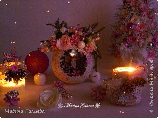Добрый вечер всем мастерам ! Хочу поделиться с вами своими прошлогодними работами на Новый год! Все в любимом розовом цвете))) Тут есть и елочки, и магнитики, и домик, и веночек , и  елочные декоративные шары, и подсвечники, в общем все выложила в одном блоге. фото 11