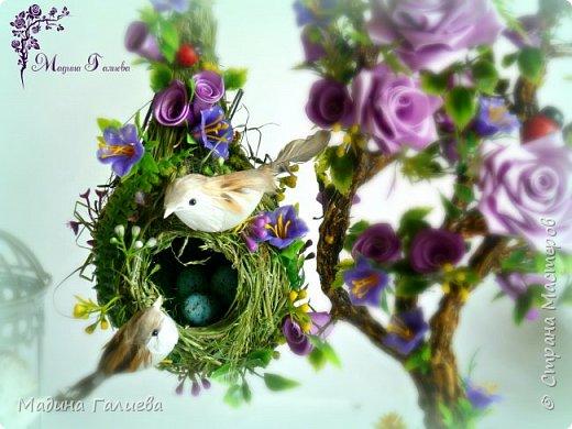 Добрый вечер жители сказочной страны! Попросили сделать деревце с гнездом,  и мне сразу захотелось сотворить ,что то необычное . Очень старалась , чтоб гнездо получилось как в природе)))) фото 1