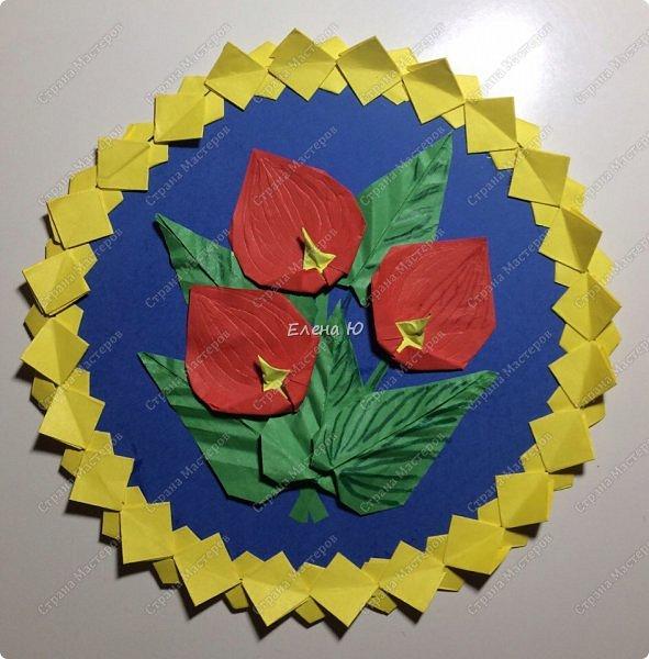 Предлагаю сложить несложный,но симпатичный цветок антуриума фото 23