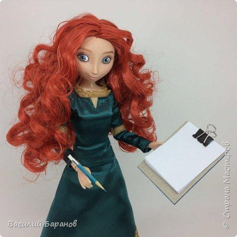 Планшет для бумаги с зажимом и карандаш с ластиком для куклы