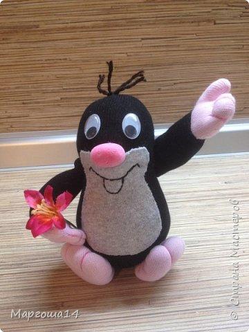 Привет  ВСЕМ!!! Продолжаю придумывать и шить из носков игрушки. Это крыска с сумочкой,в которой лежит кусочек сыра.  фото 11