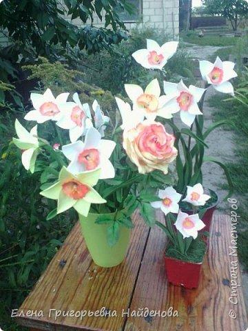 Здравствуйте,долго не решалась сделать цветы на стебле,принимайте моих первенцев.За качество фото извиняюсь. фото 1