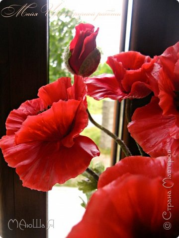 Здравствуйте, жители страны!!! Мои маки из холодного фарфора, вылеплены ещё весной, всё времени нет опубликовать.....))) фото 7