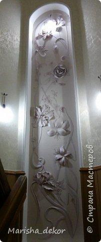 Доброго времени суток) Спешу порадовать новой красотой!) Цветочное панно на лестничном пролете, размер 350х65 см. Было интересно и временами сложно) фото 1