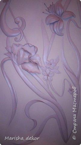 Доброго времени суток) Спешу порадовать новой красотой!) Цветочное панно на лестничном пролете, размер 350х65 см. Было интересно и временами сложно) фото 8