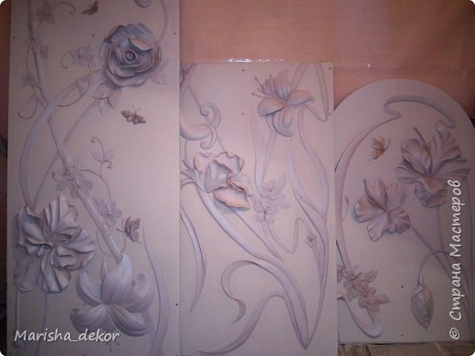 Доброго времени суток) Спешу порадовать новой красотой!) Цветочное панно на лестничном пролете, размер 350х65 см. Было интересно и временами сложно) фото 6