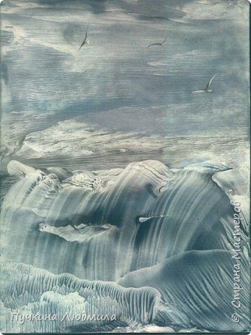 """""""Северный пейзаж"""", ф.А.4, картон,  утюг, воск, техника - Энкаустика фото 1"""