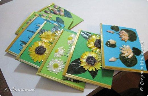 """Всем большущий  привет! Представляю вам АТС карточки """"Живые краски мира"""". Живые краски мира - это цветы. Карточки  можно отнести к Эко стилю наверное, ну и посвятить окончанию лета.   Техника аппликация. Цветы составлены из лепестков гелихризума (бессмертник); использовала листья липы, рябины и клёна, овсяную солому. Для сохранности покрыла аэрозольным лаком, листья подкрашивала акварельными красками. Середина цветов - вата, мак.  Я должна карточки мастерицам Элайджа http://stranamasterov.ru/user/399311 (за """"Ягодный микс""""),  Нельча (Неля) http://stranamasterov.ru/user/425110 (за """"Древо жизни""""),  ИРИСКА 2012 (Ирина) http://stranamasterov.ru/user/191152 (за """"Деревья""""),  Фасинасьён (Татьяна) http://stranamasterov.ru/user/197116 (за """"Дверца в сад""""),  Самурайчик (Ирина) http://stranamasterov.ru/user/47165 (за АТС мини серия) и   Torkin (Инна)  http://stranamasterov.ru/user/420446 (за """"Барджелло"""") прошу их выбирать, если им понравиться.  фото 15"""