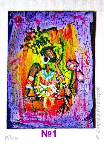 Моя серия АТС к 5 этапу - Рисуем Африку. Основа -текстурная паста. На четырех карточках по краям рамочка в виде кирпичиков через трафарет. На всех АТС трещинки - это кракелюр. Нарисовано акриловыми красками. фото 3