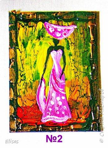 Моя серия АТС к 5 этапу - Рисуем Африку. Основа -текстурная паста. На четырех карточках по краям рамочка в виде кирпичиков через трафарет. На всех АТС трещинки - это кракелюр. Нарисовано акриловыми красками. фото 4