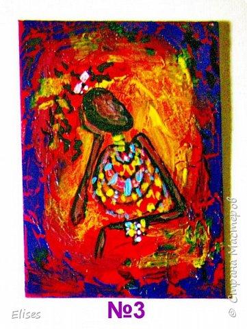 Моя серия АТС к 5 этапу - Рисуем Африку. Основа -текстурная паста. На четырех карточках по краям рамочка в виде кирпичиков через трафарет. На всех АТС трещинки - это кракелюр. Нарисовано акриловыми красками. фото 5