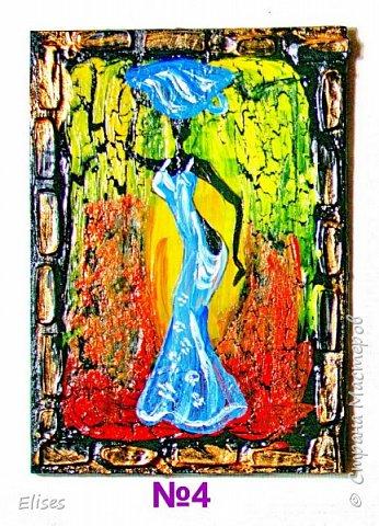 Моя серия АТС к 5 этапу - Рисуем Африку. Основа -текстурная паста. На четырех карточках по краям рамочка в виде кирпичиков через трафарет. На всех АТС трещинки - это кракелюр. Нарисовано акриловыми красками. фото 6