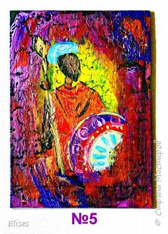 Моя серия АТС к 5 этапу - Рисуем Африку. Основа -текстурная паста. На четырех карточках по краям рамочка в виде кирпичиков через трафарет. На всех АТС трещинки - это кракелюр. Нарисовано акриловыми красками. фото 7