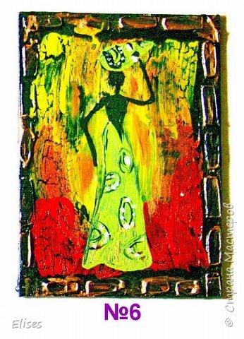 Моя серия АТС к 5 этапу - Рисуем Африку. Основа -текстурная паста. На четырех карточках по краям рамочка в виде кирпичиков через трафарет. На всех АТС трещинки - это кракелюр. Нарисовано акриловыми красками. фото 8