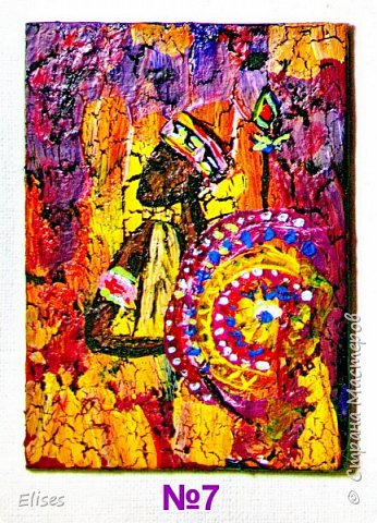 Моя серия АТС к 5 этапу - Рисуем Африку. Основа -текстурная паста. На четырех карточках по краям рамочка в виде кирпичиков через трафарет. На всех АТС трещинки - это кракелюр. Нарисовано акриловыми красками. фото 9