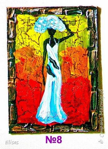 Моя серия АТС к 5 этапу - Рисуем Африку. Основа -текстурная паста. На четырех карточках по краям рамочка в виде кирпичиков через трафарет. На всех АТС трещинки - это кракелюр. Нарисовано акриловыми красками. фото 10