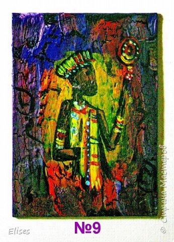 Моя серия АТС к 5 этапу - Рисуем Африку. Основа -текстурная паста. На четырех карточках по краям рамочка в виде кирпичиков через трафарет. На всех АТС трещинки - это кракелюр. Нарисовано акриловыми красками. фото 11