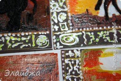 """Добрый день дорогие друзья и гости моей странички!! !Вот моя 5 серия нашей совместной игры .организованной Оксаной(Oksana Gordey). (http://stranamasterov.ru/node/1099648#comment-14782622) Тема 5 этапа , - это карточка """".Рисуем Африку."""" По условиям  игры можно рисовать точками (point-to-point), дудлами и зендудлами, красками или кофе, чаем, на ткани или на бумаге и  можно рисовать еще нитками и др. материалами.  Сначала я подготовила карточки совсем другие, и сейчас понимаю ,что как  здорово что они где-то """"потерялись""""  А то сегодня я увидела эти же сюжеты у  других участниц совместника. Пришлось переделывать. Но наверное так и должно было быть.... Мастер у нас дудлов-зендудлов это Ириска, но я тоже попробовала точками немного узор нарисовать ну чтоб соблюдать требования игры фото 4"""