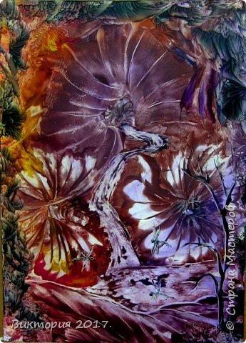 Немного абстракции. Фантастические цветы, ручьи, растения и стрекозы.  Формат работ А4. фото 1