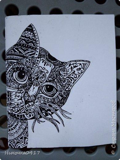 Сегодня сделала ещё один блокнотик. На этот раз с котиком! фото 2