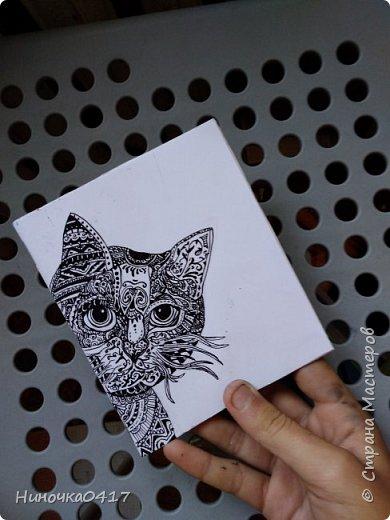 Сегодня сделала ещё один блокнотик. На этот раз с котиком! фото 1