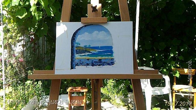 """Привет всем! """"Средиземноморье"""". Масло, холст на картоне. Рисовала ещё в июле, потом у меня был большой перерыв в творчестве. фото 3"""