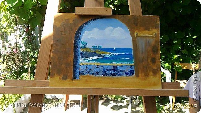 """Привет всем! """"Средиземноморье"""". Масло, холст на картоне. Рисовала ещё в июле, потом у меня был большой перерыв в творчестве. фото 4"""