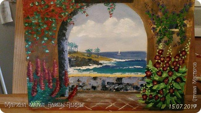 """Привет всем! """"Средиземноморье"""". Масло, холст на картоне. Рисовала ещё в июле, потом у меня был большой перерыв в творчестве. фото 1"""