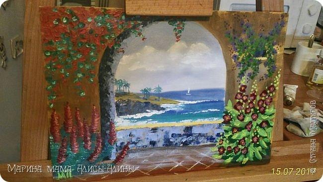 """Привет всем! """"Средиземноморье"""". Масло, холст на картоне. Рисовала ещё в июле, потом у меня был большой перерыв в творчестве. фото 2"""