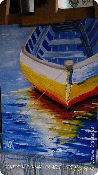 """Привет всем! """"Средиземноморье"""". Масло, холст на картоне. Рисовала ещё в июле, потом у меня был большой перерыв в творчестве. фото 5"""