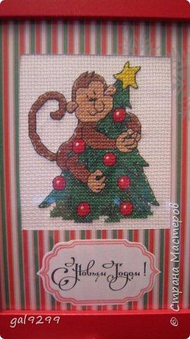 """Это известная троица обезьян. Вышивка оформлена в картон и украшена вырубками """"Звездочки"""". фото 5"""