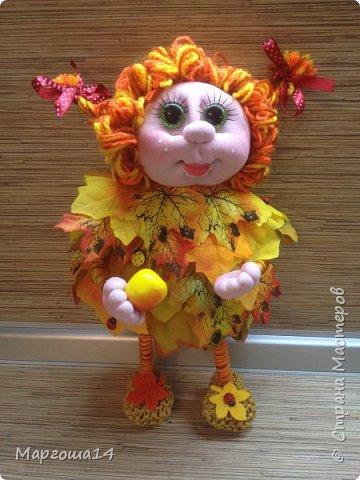 Здравствуйте,Страна Мастеров!!! Решила сотворить куколку для улучшения осеннего настроения( на улице дождь и пасмурно). Вот такая солнечная Осень появилась у меня)))Глазки специально сделала зелёными,как листики,которым ещё предстоит поменять свой цвет. фото 2