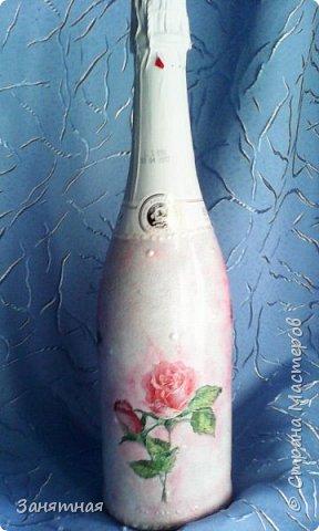 Недельку назад попросили меня сделать бокалы и шампанское к свадьбе в розовом цвете, а времени дали всего четыре дня. Вот что из этого вышло.  фото 3