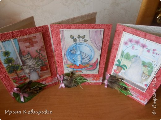 """Последние открытки из серии """"Кошки"""" по рисункам Натальи Шумихиной (Ильиновой в СМ). Я постаралась, чтобы все 16 рисунков имели отдельную открытку, а внутри я дублировала вторые экземпляры рисунков произвольно.Поэтому вы увидите какие-то рисунки дважды. фото 1"""