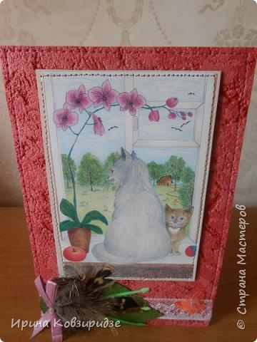 """Последние открытки из серии """"Кошки"""" по рисункам Натальи Шумихиной (Ильиновой в СМ). Я постаралась, чтобы все 16 рисунков имели отдельную открытку, а внутри я дублировала вторые экземпляры рисунков произвольно.Поэтому вы увидите какие-то рисунки дважды. фото 8"""