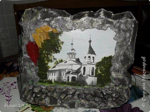 """Захотелось сделать в имитации камня  с применением техники """"Терра"""" нашу достопримечательность церковь Илии Пророка. фото 1"""