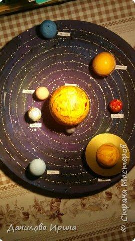 Вот что получилось. За основу взята крышка из-под коробки чайного сервиза. Покрашена гуашью, контуры орбит сделаны контуром по стеклу и керамике. Планеты- из попрыгунчиков разного размера. Солнце - небольшой мячик. Планеты покрашены сначала клеем ПВА, потом гуашевыми красками. Прикреплено на основу с помощью шурупов. Вот такая идея воплощена за два захода. Приятного просмотра. фото 8
