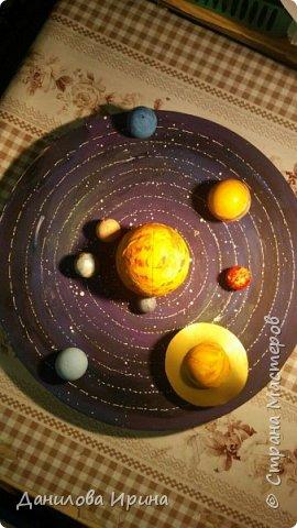 Вот что получилось. За основу взята крышка из-под коробки чайного сервиза. Покрашена гуашью, контуры орбит сделаны контуром по стеклу и керамике. Планеты- из попрыгунчиков разного размера. Солнце - небольшой мячик. Планеты покрашены сначала клеем ПВА, потом гуашевыми красками. Прикреплено на основу с помощью шурупов. Вот такая идея воплощена за два захода. Приятного просмотра. фото 2