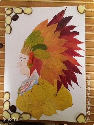 Индеец из осенних листьев