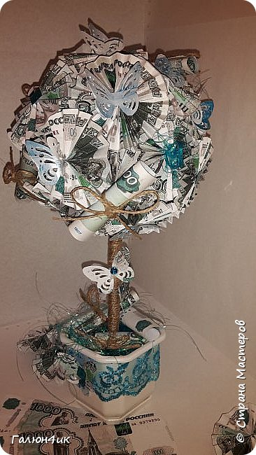 Всем жителям прекрасной страны, добрый день!!! У меня очередное денежное дерево-тысячное...сделанное по мастер-классу Виктории. Неустанно благодарю ее... фото 1