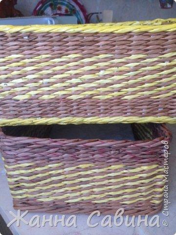 Короба и коробочки из бумажной лозы фото 17
