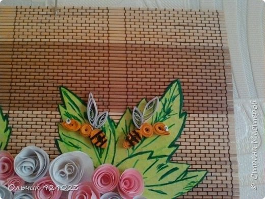 Букетик роз на бамбуковом коврике)))))  фото 2