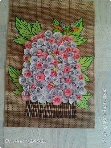 Букетик роз на бамбуковом коврике)))))  фото 1