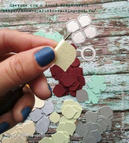 Всем привет!!!! Сегодня хочу показать фото МК как я делаю гортензию. Сразу скажу не знаю и не искала как их делают, я показываю как делаю я))) Этот нож появился у меня недавно, пробовала гортензии красить акварелью, но пока результат мне не нравится. Поэтому заготовки я нарубила из обрезков перламутрового картона, матового и был такой красивый картон (бордовый), он такой мягкий и гладкий с двух сторон ( с тактильным эффектом) но как оказалось он вредный, лепестки не клеятся на титан и даже на момент кристалл!!!!!!! ( буду пробовать на пистолет)  фото 4