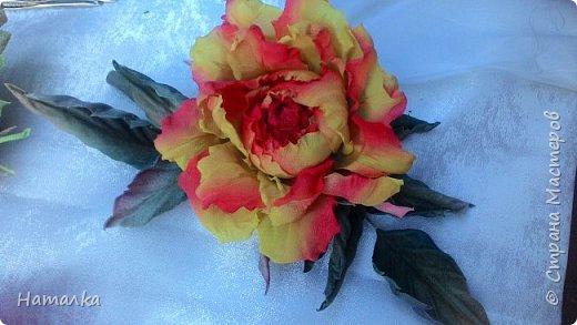 Роза выполнена по мастер-классу Полины Кузнецовой. Яркое украшение в прическу или к платью. В изготовлении использован натуральный винтажный шифон. Бархатистые листья из фланели.