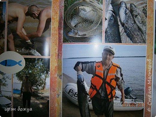В отпуске мы с друзьями выезжаем на рыбалку и отдых на природе дней на 5.  Это один из альбомов,которые я сделала с помощью определённой программы и фото. Это конверт в котором находиться брошюра с фото. Конверт готовый из картона,который украшен вырубками. фото 12