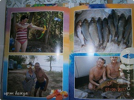 В отпуске мы с друзьями выезжаем на рыбалку и отдых на природе дней на 5.  Это один из альбомов,которые я сделала с помощью определённой программы и фото. Это конверт в котором находиться брошюра с фото. Конверт готовый из картона,который украшен вырубками. фото 5